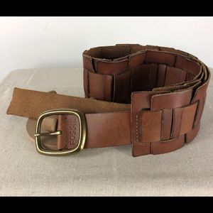 Fossil Woven Brown Leather Belt Brass Tone Buckle